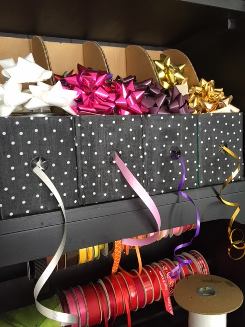 gift wrap and ribbon organizer