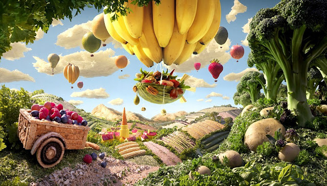 Willy Wonka, Food World, Carl Warner's, Food Photography, Lemons, Peppers, Marshmallows, Nougat, lollipop, Broccoli, Cucumber, Kit Kat, Cornflake, Cherries, Raspberries, Orange, Fruits, Pumpkin, Carrots, Apricots, Ice Cream Cones, Banana, Creative Art, Amazing Work