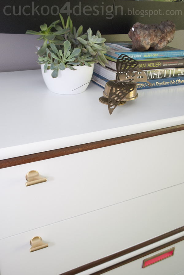 midcentury dresser makeover with gold, white and neon pink