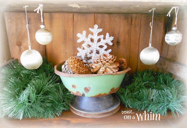 Vintage Ornaments Hung Inside a Crate from Denise on a Whim