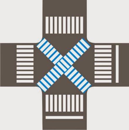 """Faixa de Pedestres Diagonal (em """"X"""")"""