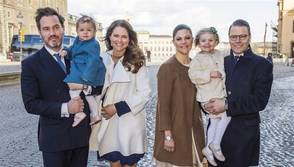 Crown Princess Victoria and Crown Prince Daniel of Sweden, Prince Carl Philip and Sofia Hellqvist, and Princess Madeleine and Christopher O'Neill, Princesses Estelle and Leonore