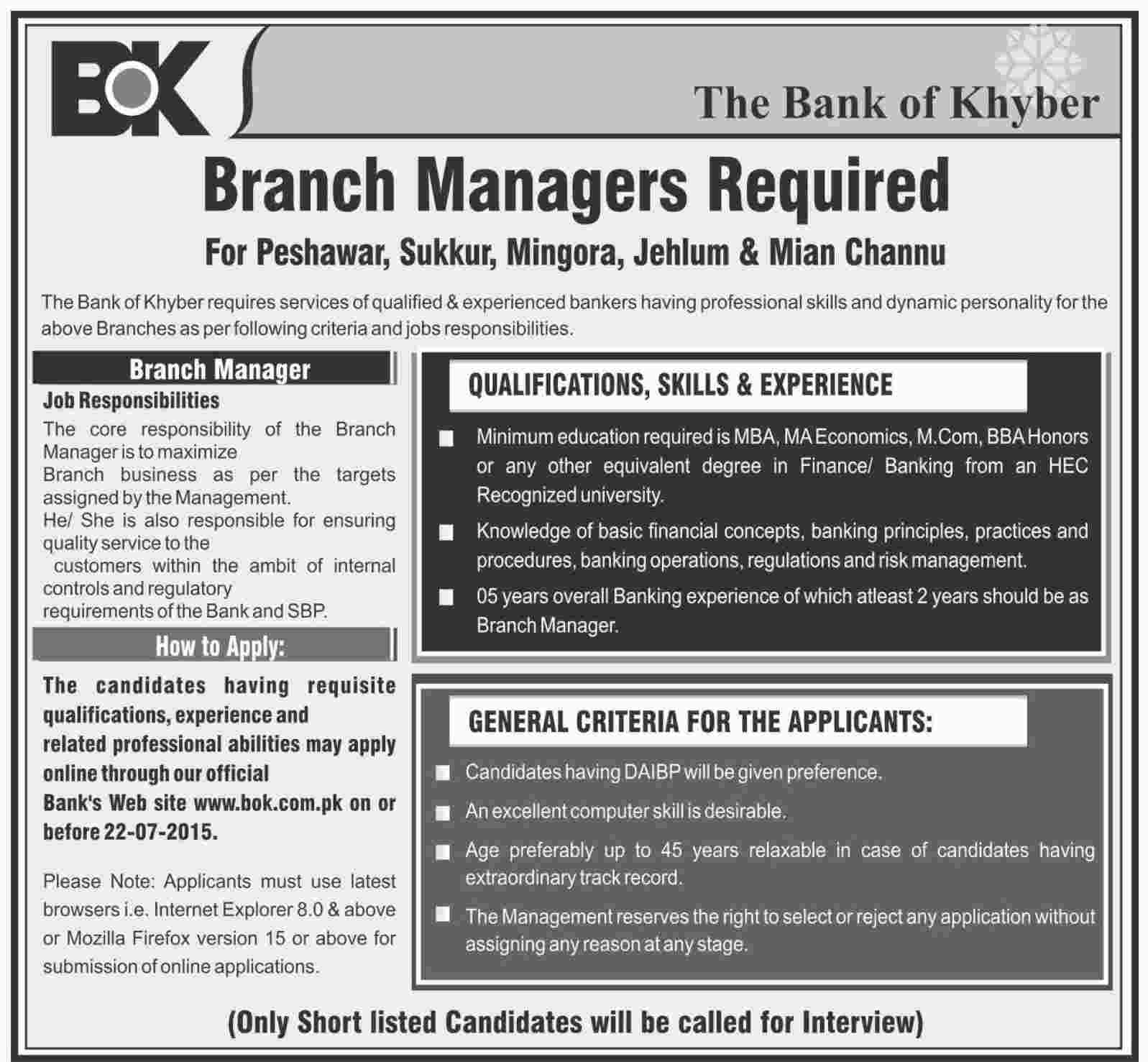 New Jobs in Bank of Khyber