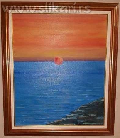 umetnička slika -SUTON-ulje na platnu,umetnik Vladisav Bogićević-slikar udruženja Luna-Niš