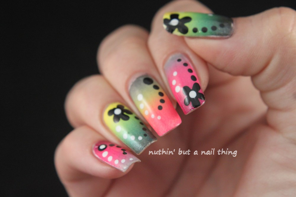 Colourful gradient with flowers