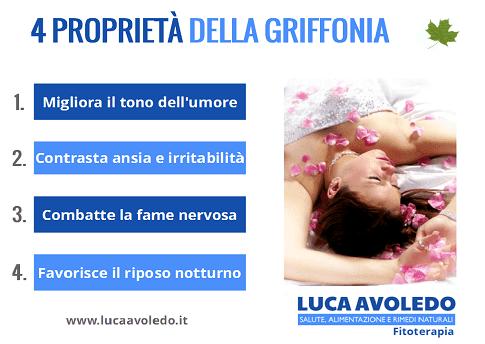 Infografica sulle proprietà di Griffonia simplicifolia