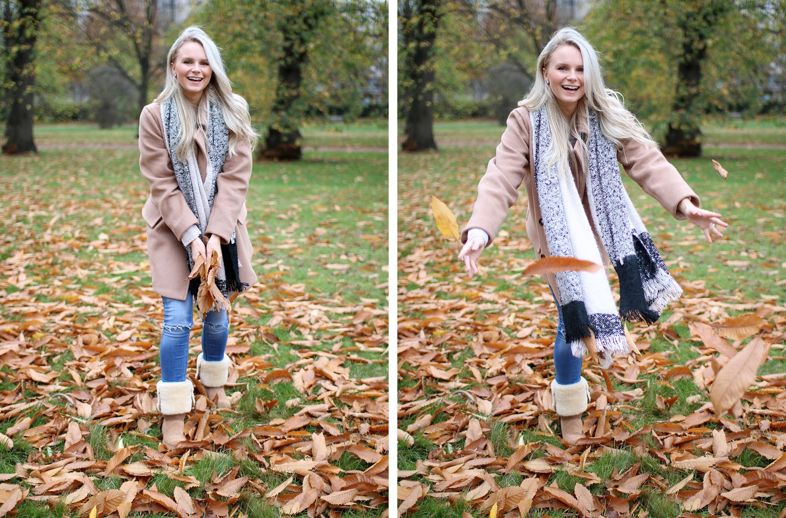 a women throws leaves at the camera, golden leaves in hyde park