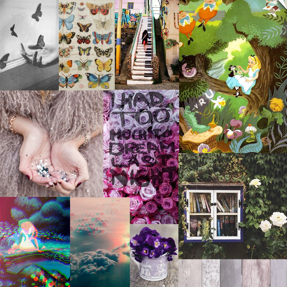 Alice in Wonderland fashion inspiration board