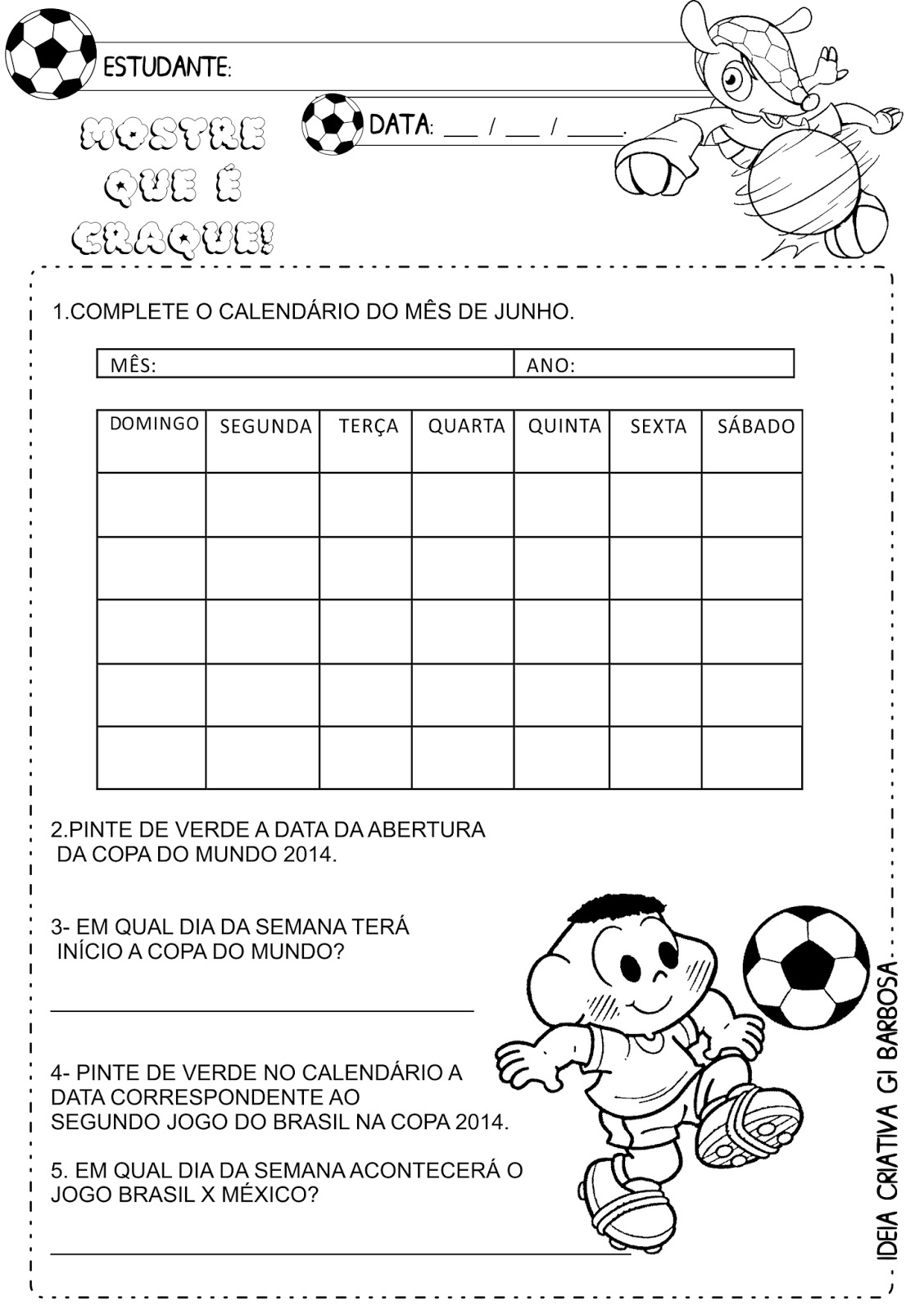 Atividade Calendário Copa do Mundo  2014