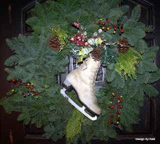 Front door, Christmas, wreath, ice skate