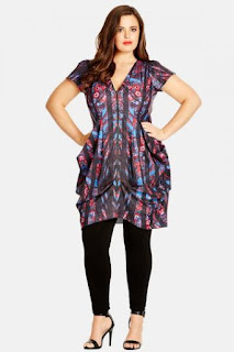 City Chic Paisley Mirror Print Front Zip Pleat Tunic Dress (Plus Size)