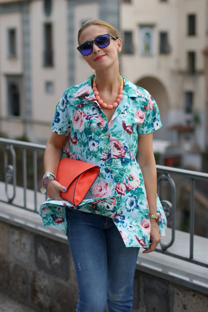 Kenzo flower print, Oakley mirror sunglasses, Zara orange clutch, Fashion and Cookies, fashion blog