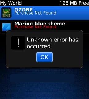 Jenis-jenis Error pada Blackberry