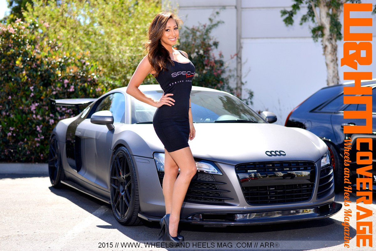 Melissa Dacher by an Audi R8,  great wheels and heels, at Spec-D Tuning Spring Showoff Car meet