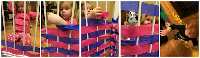 Weaving Practice for Kids Using Streamers and Baby Gate from Lalymom