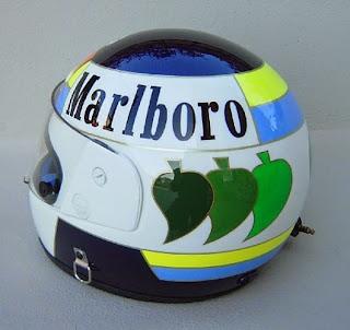 Il casco di Stefan Johansson, con le foglie