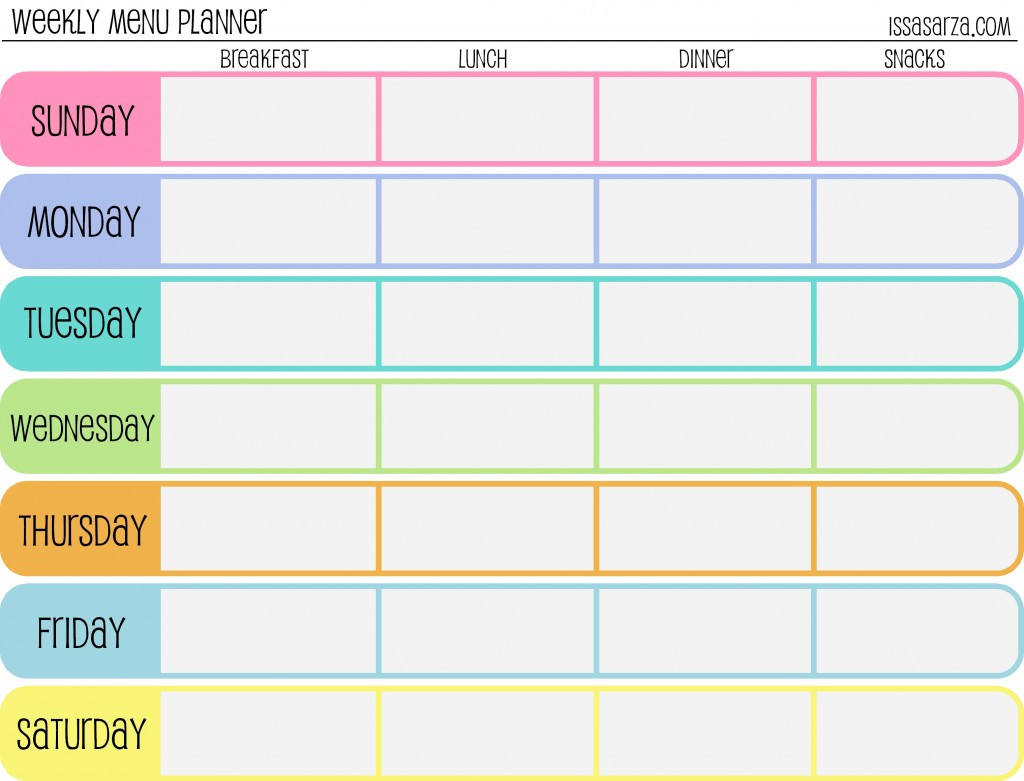 ... Free Printable Weekly Meal Planner Template. on budget worksheets free