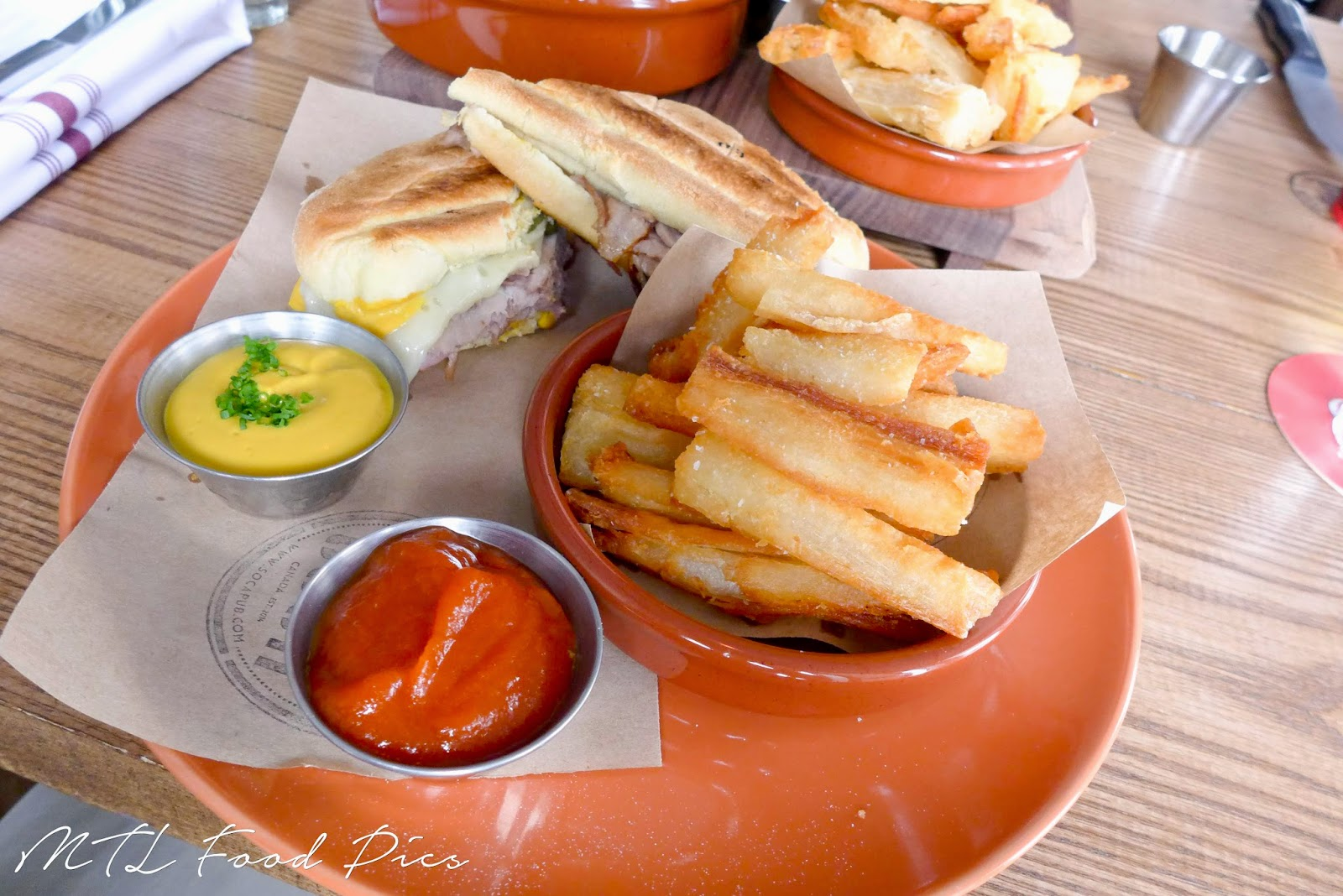 cuban sandwich with yuca fries - latin food