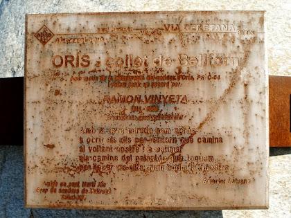 Placa commemorativa del monòlit del Collet de Bellforn