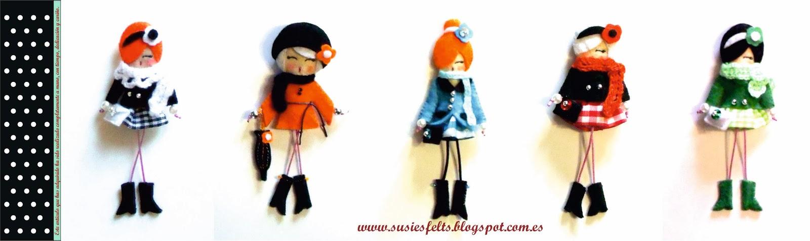 Susies, broches, fieltro, bufandas, muñecas