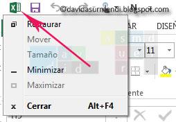 Menú de Control de Excel 2013.