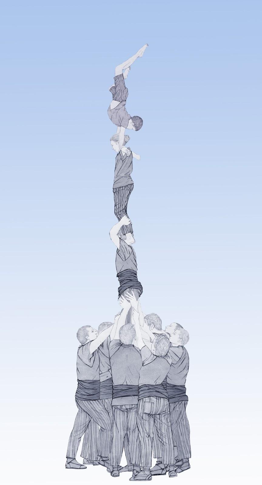 Torre humana, ball del bojos, L`Olleria, dibujo