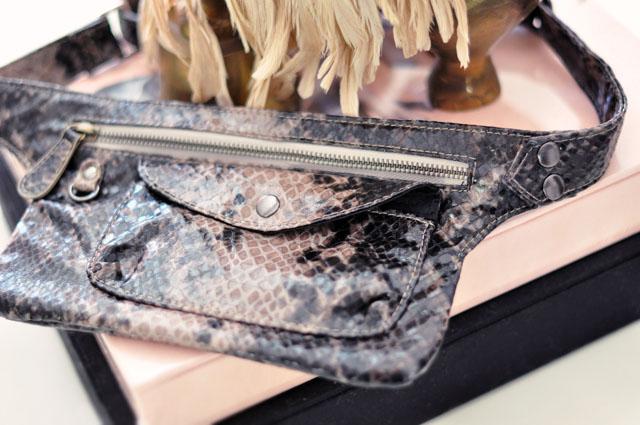 faux snakeskin hip bag, fanny pack
