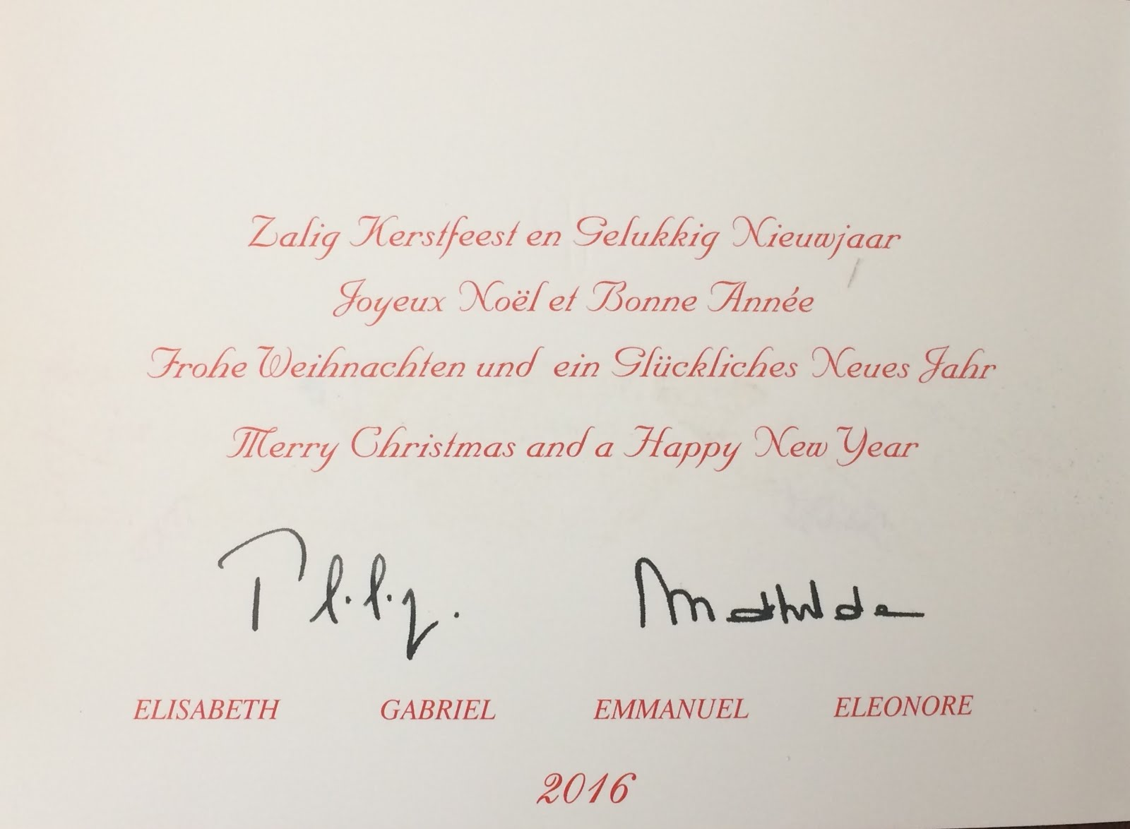 christmas and a happy new year the king and queens signatures are printed onto the card with their 4 childrens names typed below in order of age - Christmas Card Signatures
