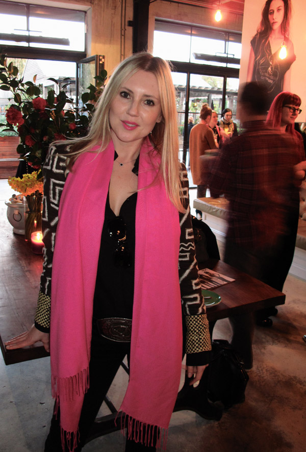 Pink Scarf, Glynis Traill-Nash in background, ROC Eye Wear SS 12/13 sunglasses Launch