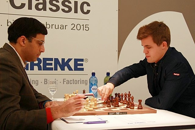 Anand - Carlsen Cuarta Ronda, Grenke Chess Classic 2015