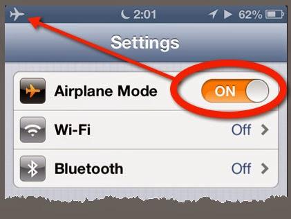 Bật chế độ máy bay (airplane mode) hoặc tắt hoàn toàn thiết bị