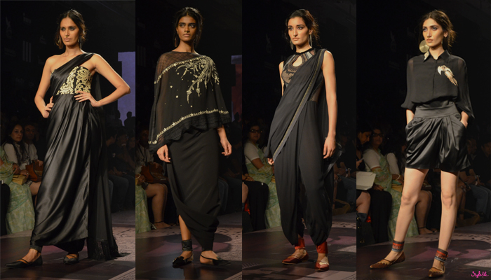 Models wearing fashion clothing in various drapes, shades and accessories from Tarun Tahiliani presented by Reliance Trends took to the runway at Lakme Fashion Week Winter Festive 2015 - 16