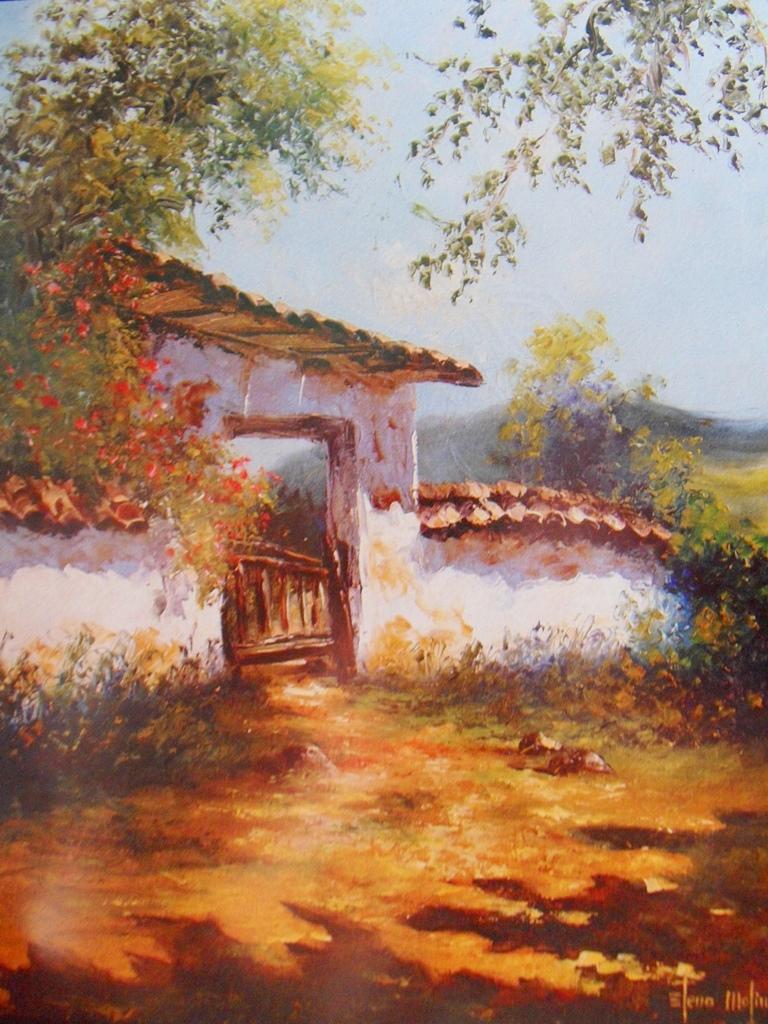 Cuadros modernos pinturas y dibujos paisajes con espatula - Paisajes de casas ...