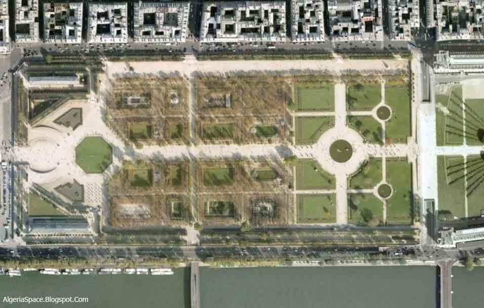 France vue du ciel - Plan detaille du jardin des tuileries ...
