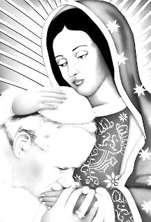 Virgen de Guadalupe y el papa Juan Pablo Segundo para colorear