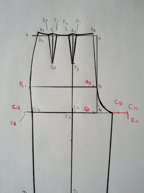 Drawing Lines Between Divs : Basic pants pattern part back