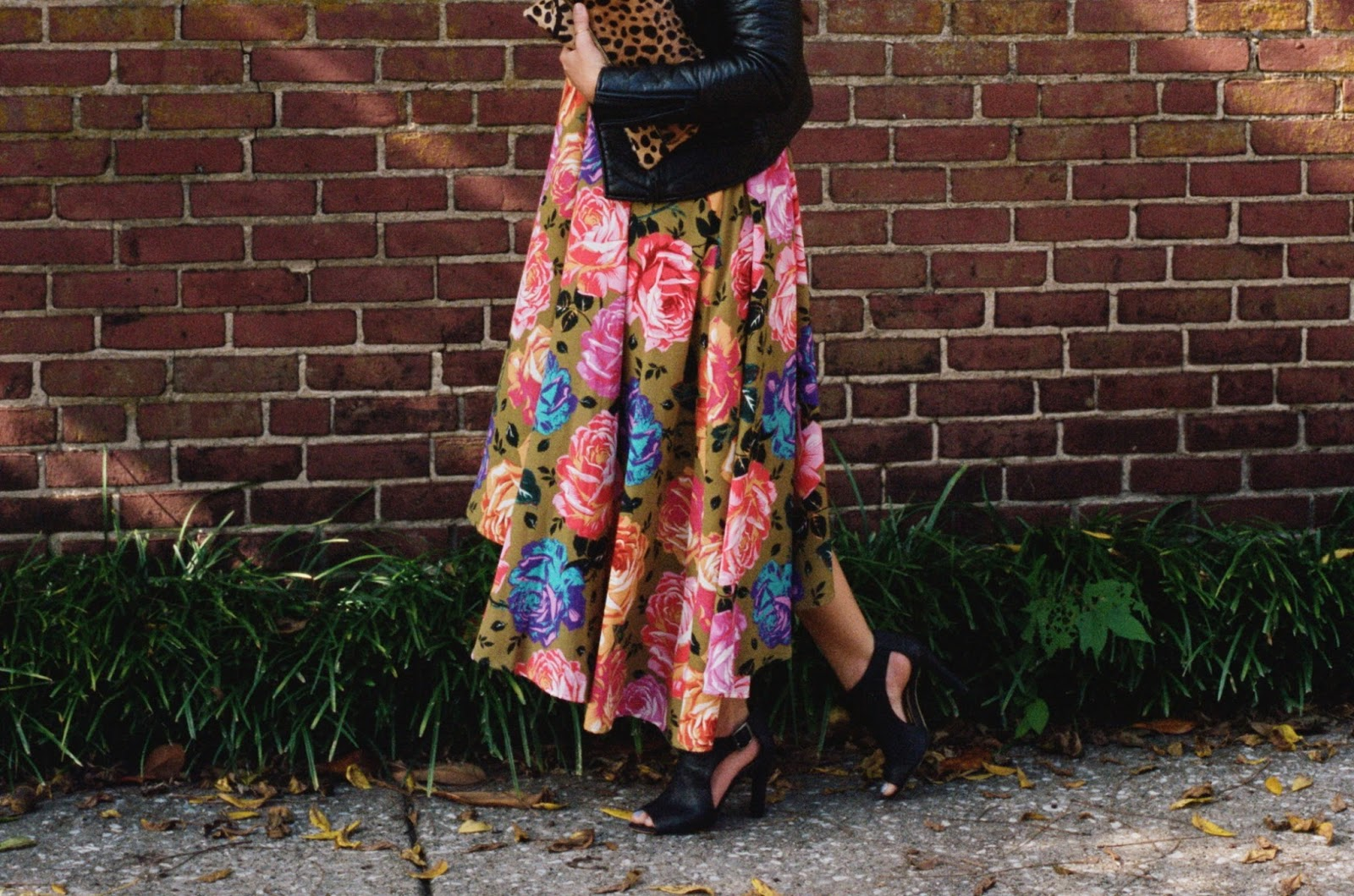 Floral Dress, Leather Moto Jacket, Booties