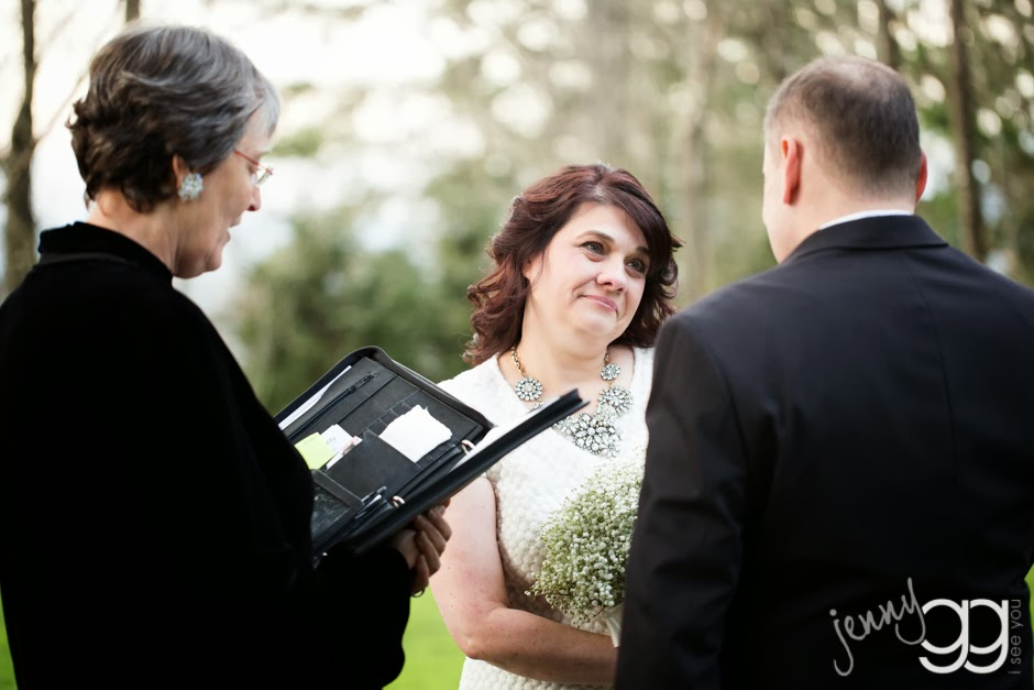 Jenny looks at David with love during their wedding ceremony - Posted by Patricia Stimac, Seattle Wedding Officiant