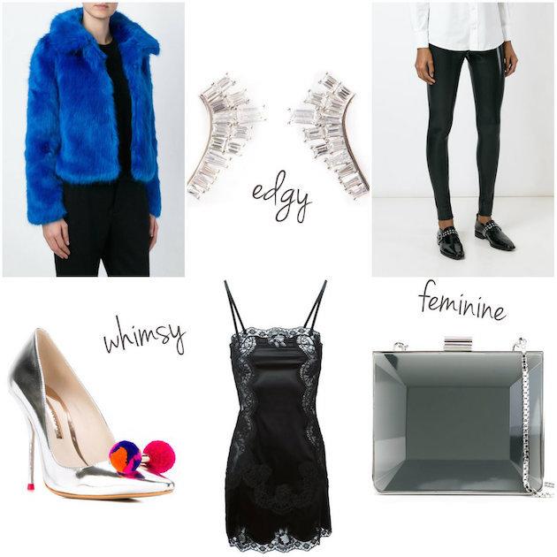 Collage of faux fur jacket, lobe earrings, comme des garcons leggings, sophia webster lola pumps, slip dress, salvatore ferragamo clutch