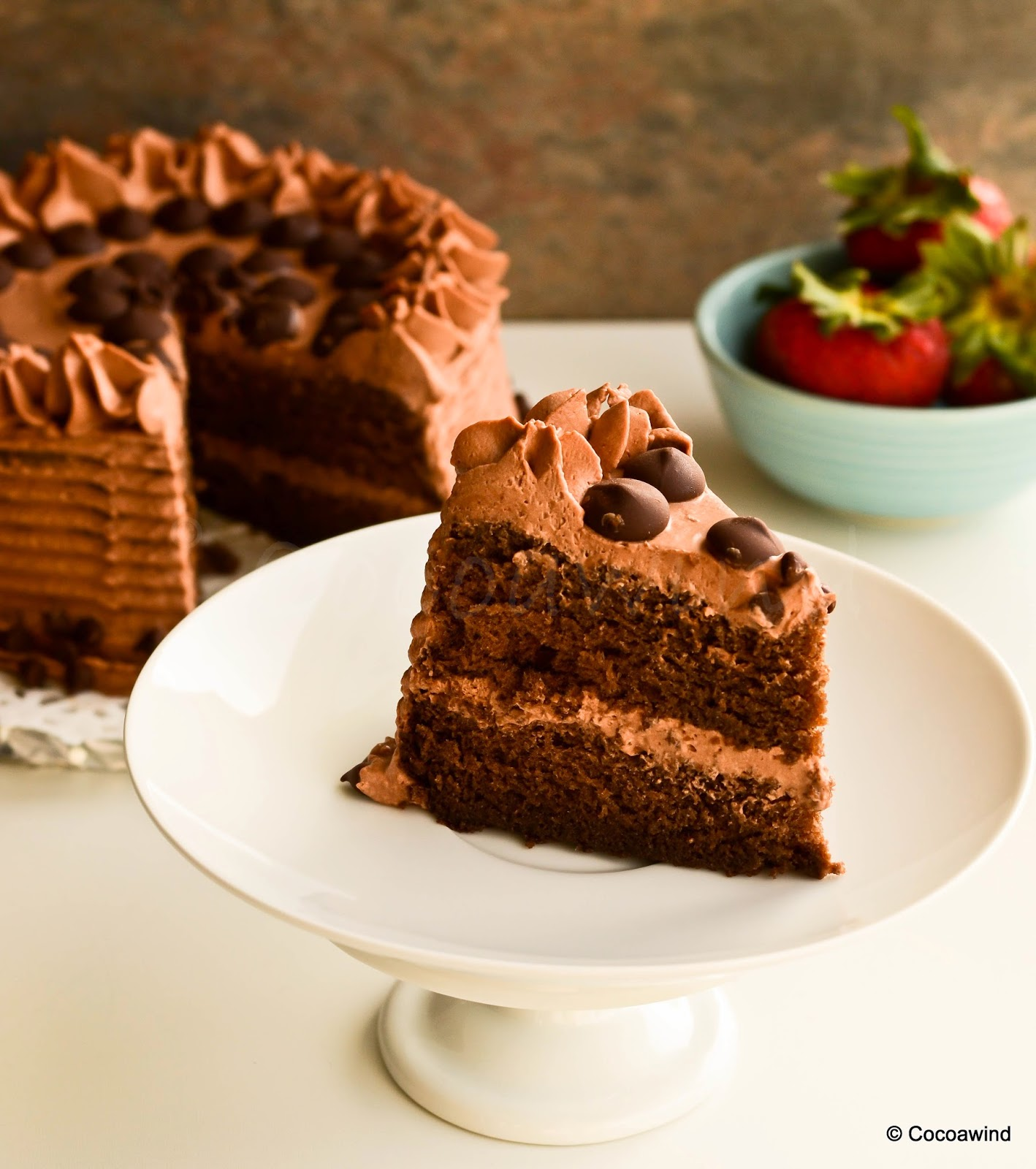 Cake With Chocolate Whipped Cream Frosting : Moist Chocolate Cake with Mocha Whipped Cream Frosting