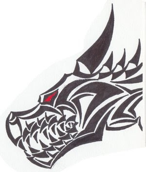 Tribal Head Dragon Tattoos For MenTribal Dragon Head Designs