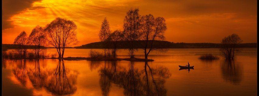 Red sky and lake