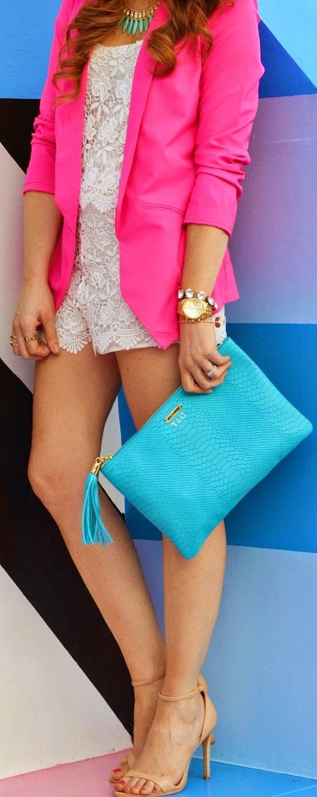 Pink Blazer + Lace romper