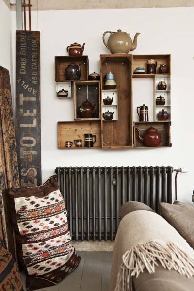 Ideas Para Decorar El Baño Con Material Reciclado:Old Crate Shelves