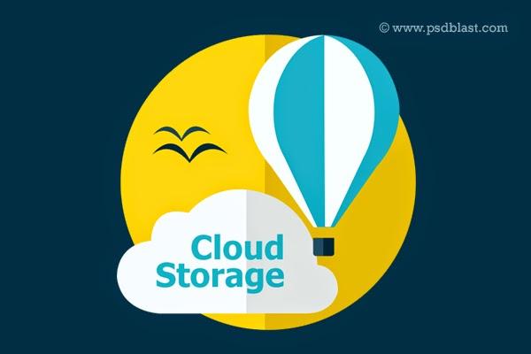 Flat Cloud Storage Icon PSD