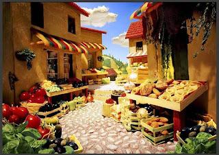 Villaggio di pasta formaggi e cereali