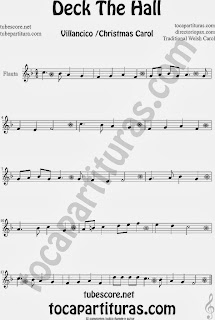 Partitura de Deck The Hall para Flauta Travesera, flauta dulce y flauta de pico  villancico Christmas song heet Music for Flute and Recorder Music Scores