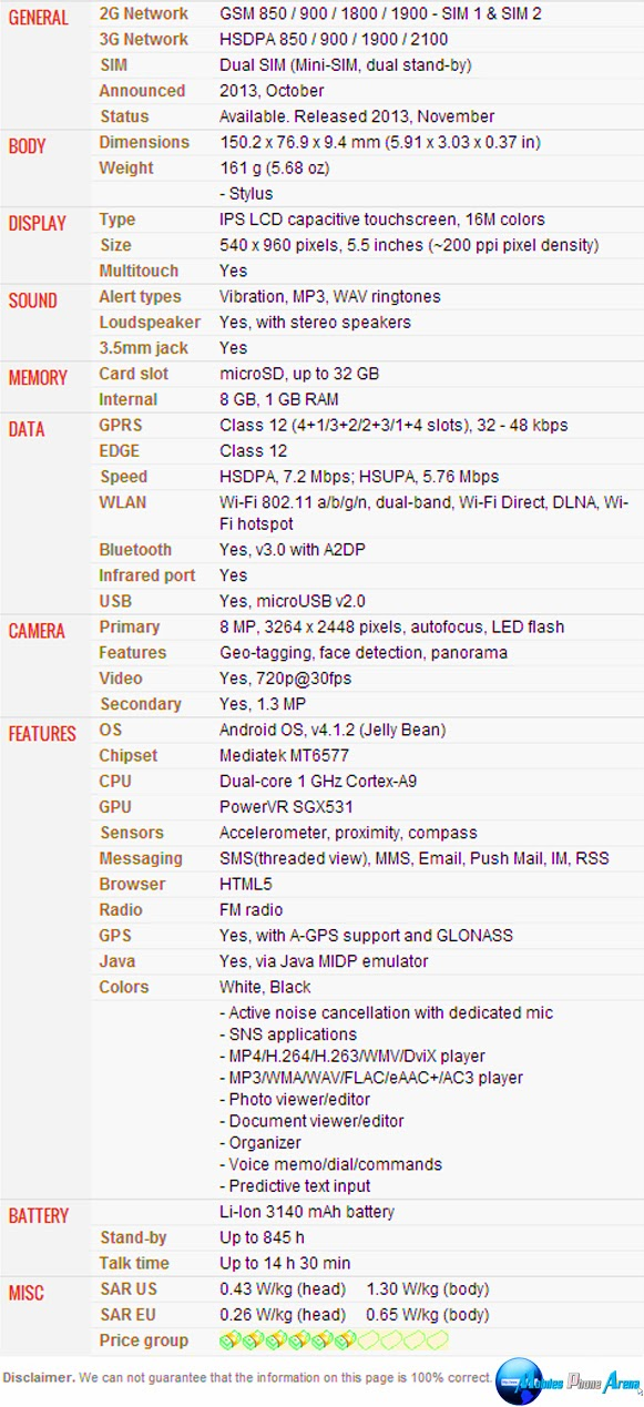 LG G Pro Lite Dual - Full phone specifications Pic