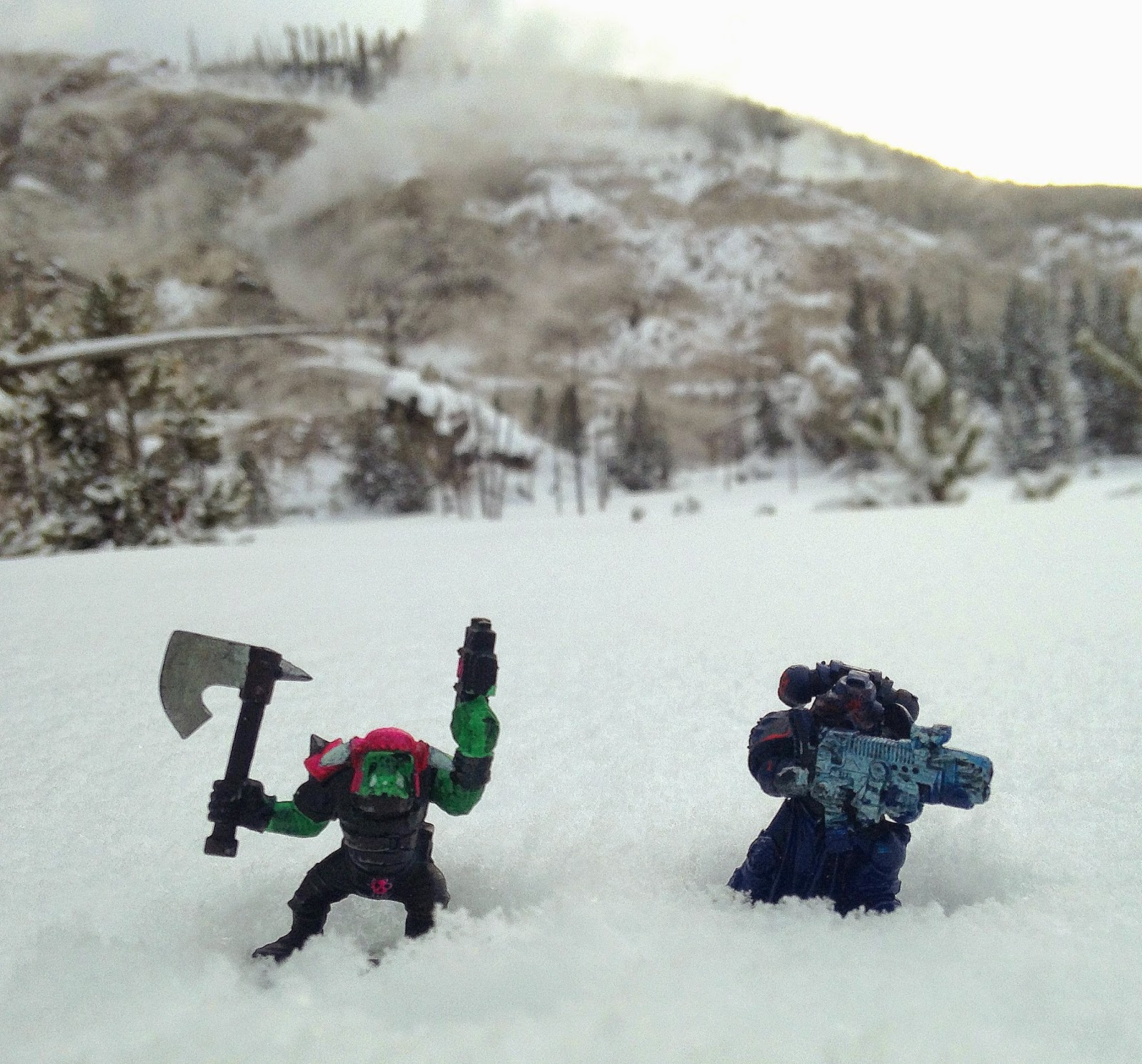 Pink Ork and Space Marine in Yellowstone, Warhammer 40K with Geyser
