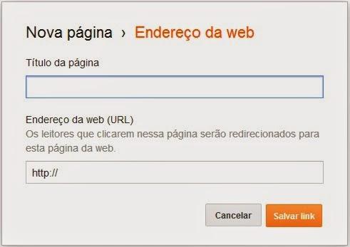 Adicionando Link externo na Pagina do Blogger